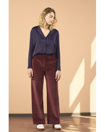 PANTALON PIGAMON Velours fines côtes Bordeaux
