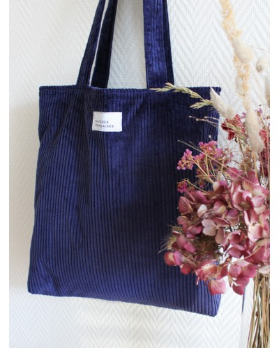 TOTE BAG MF Velours Bleu Indigo