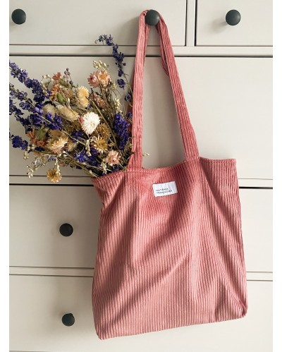 TOTE BAG MF Velours Rose blush