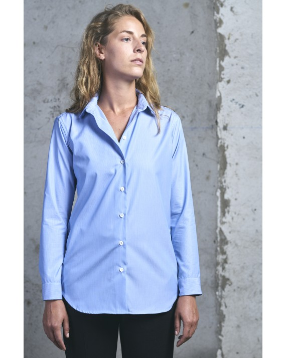 CHEMISE GINGKO Rayures Fines Bleues