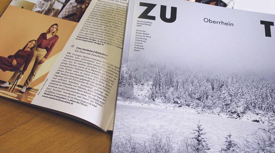 Une maison à histoires, Concept Matières Françaises, Article dans le magazine Zut
